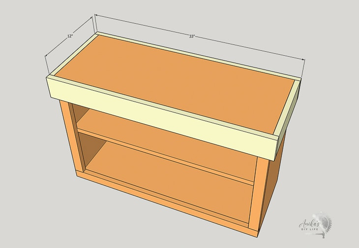 schematic showing attaching trim to the top of the shoe rack