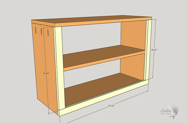 schematic showing attaching trim to the front of the shoe rack