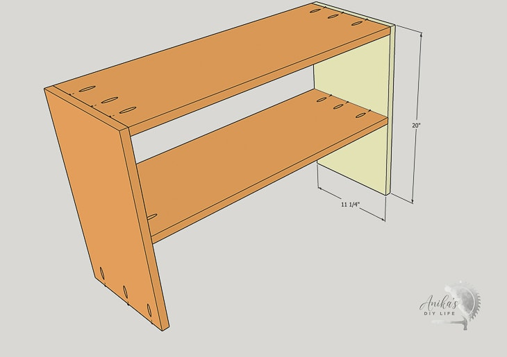 schematic showing attaching other side of the shoe rack