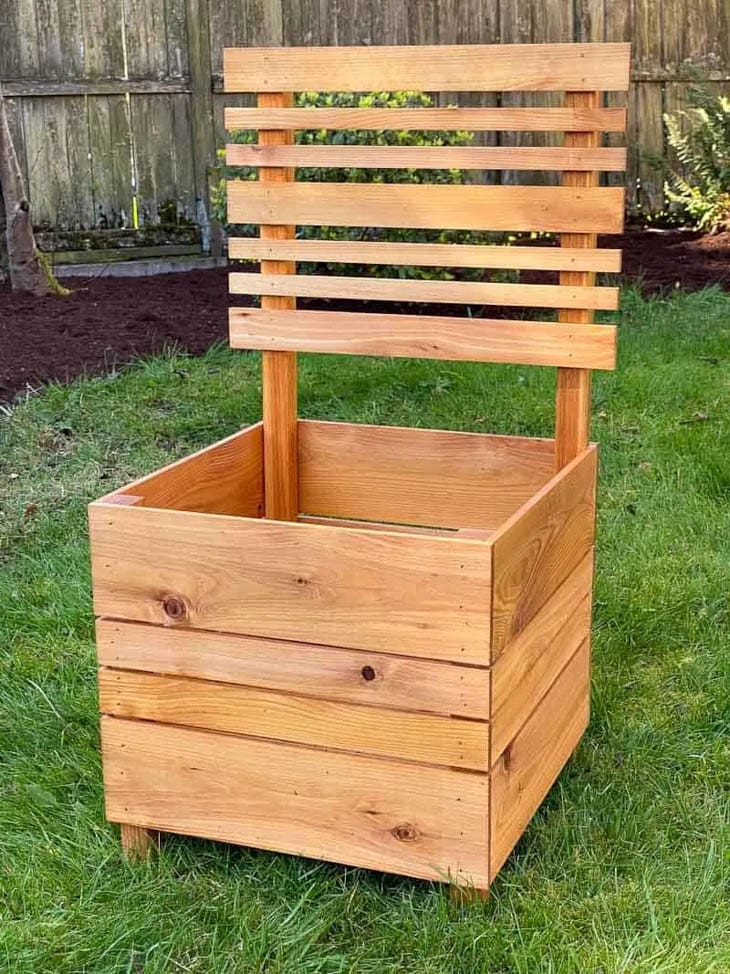 Square wood planter box with wooden trellis
