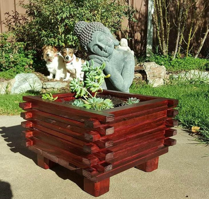 stacked planter made from scrap wood