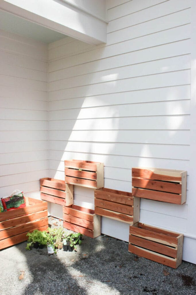 DIY wood planters stacked together