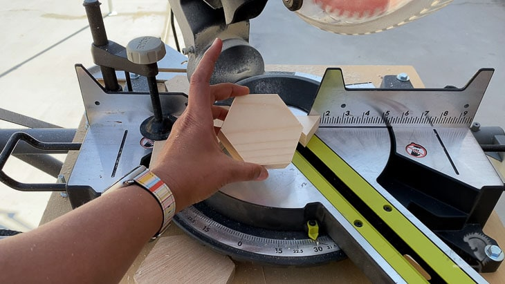 woman holding a hexagon cut on a miter saw