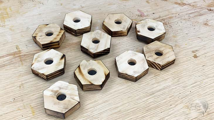 hexagon tiles with magnets attached in the back