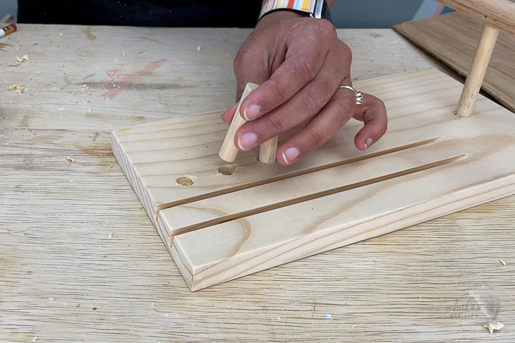Adding dowels for ring holders on the DIY jewelry display stand