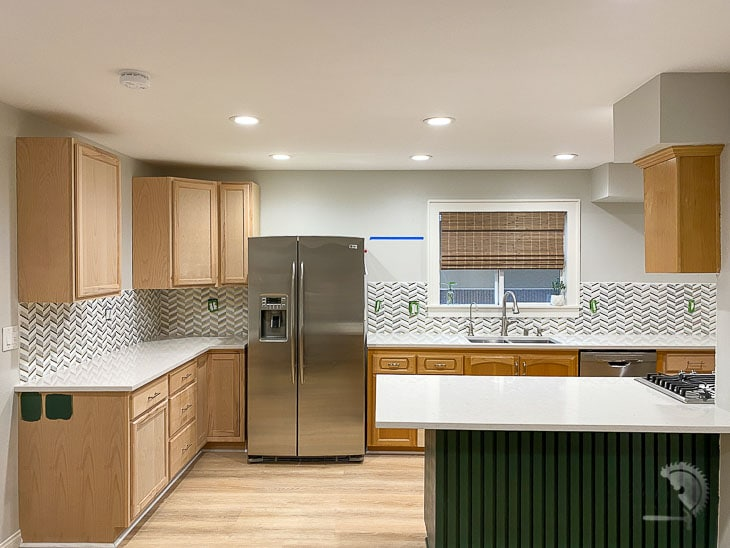 backsplash installed in kitchen