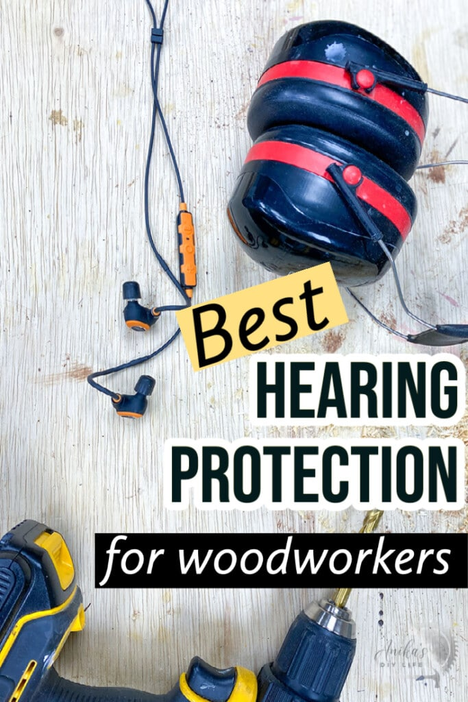 ear muffs and ear plugs on a workbench with power drill and text overlay