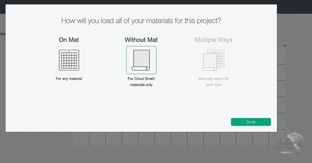 screenshot of Design Space showing options of material mats on Cricut Maker 3