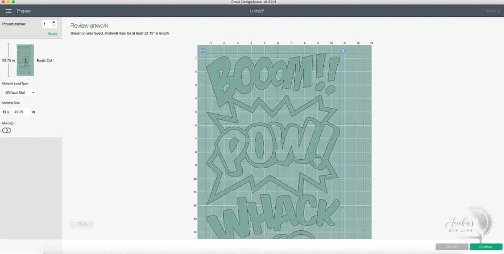 Screenshot showing long design cut ready to go on Cricut Maker 3