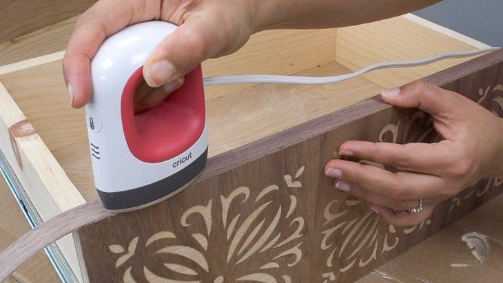 applying edge banding to the drawer