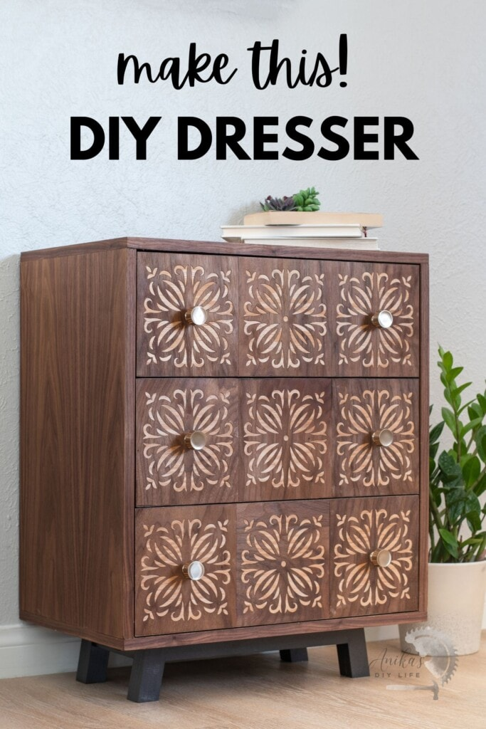 DIY dresser with veneer panels in room with text overlay