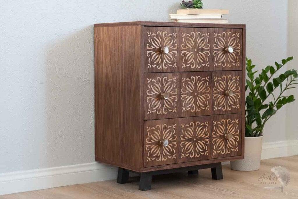 Complete DIY dresser with veneer panels in room with plant
