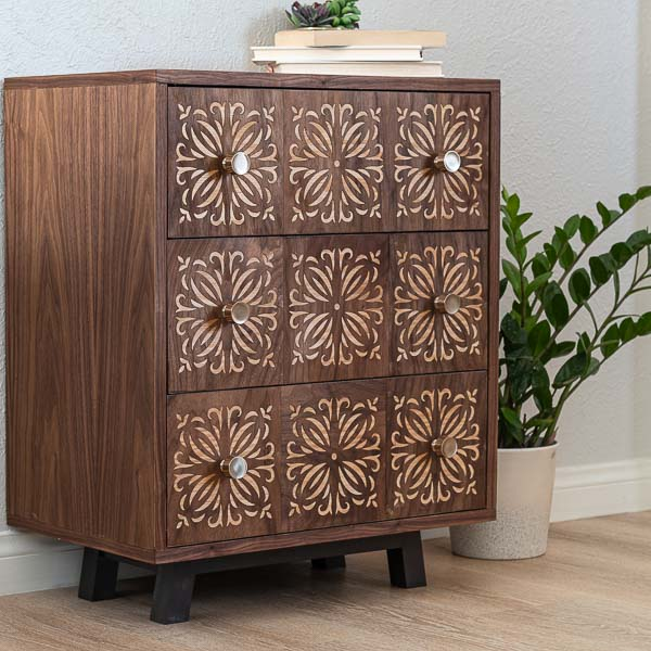 Learn how to build a small DIY dresser that also works as a nightstand with woodworking plans and tutorial. I added fun detail using my Cricut Maker.