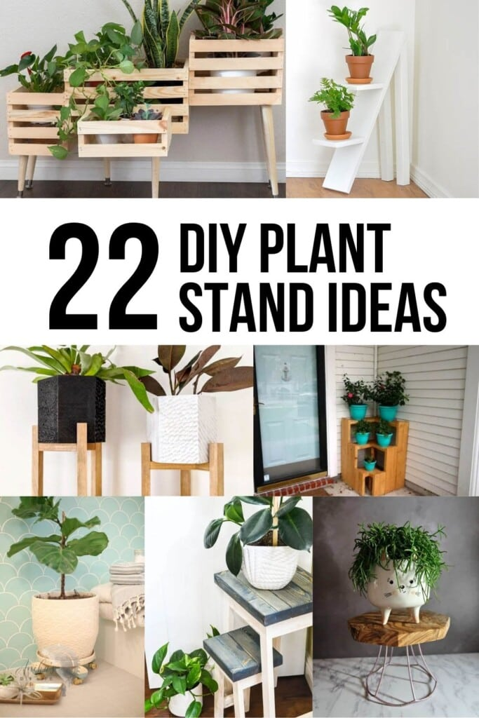 collage of wooden DIY plant stand ideas with text overlay