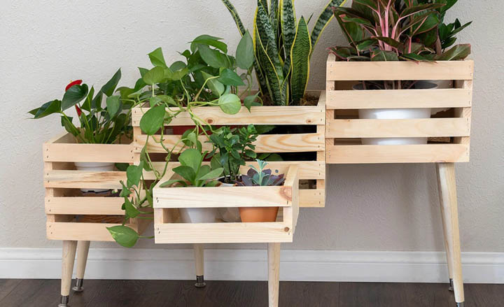 DIY plant stand made with wooden crates