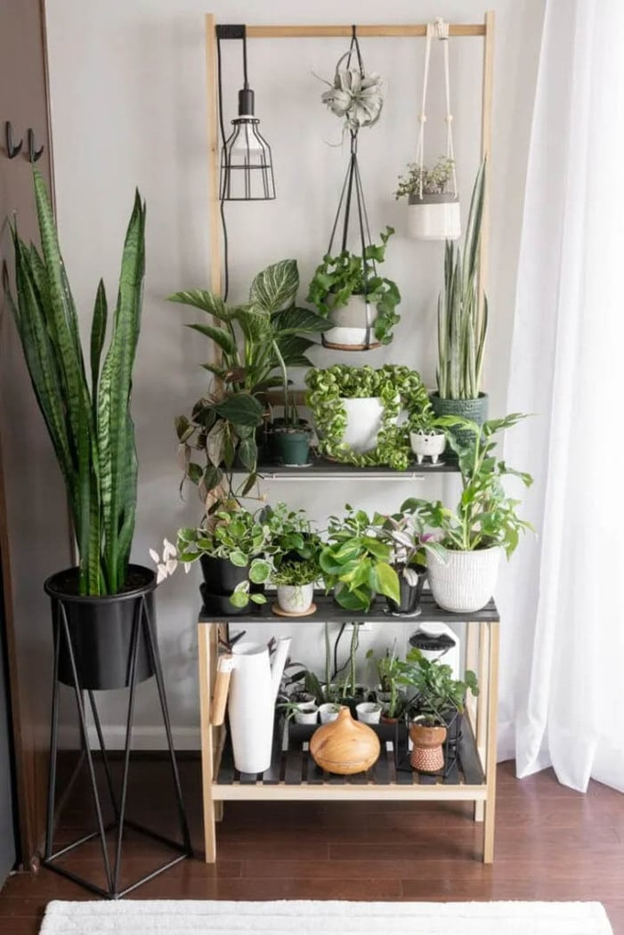 tiered diy plant stand with three shelves and a hanging bar