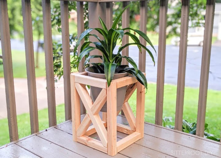wooden DIY plant stand with X detail