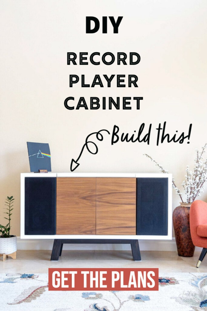 DIY mid century modern  record player cabinet with text overlay