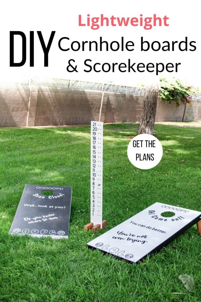 cornhole boards and scorekeeper in grass with text overlay