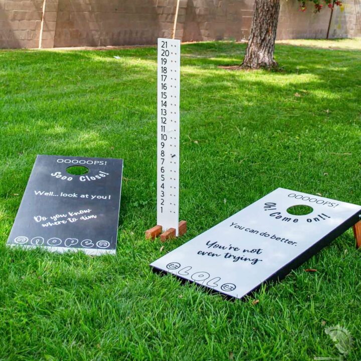 How to build easy DIY cornhole boards that are lightweight. These custom bean bag toss game is really easy to build!