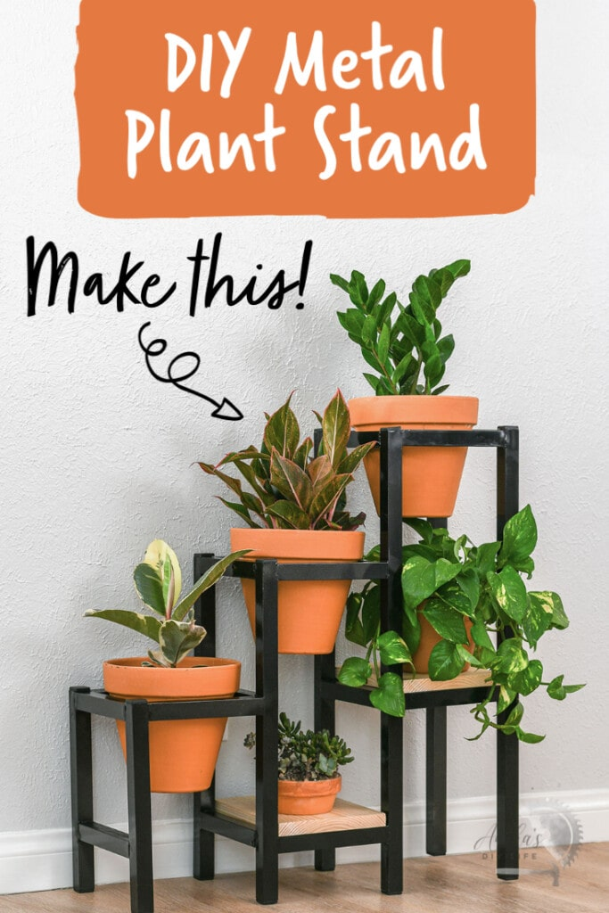 DIY Tiered metal plant stand with plants and text overlay
