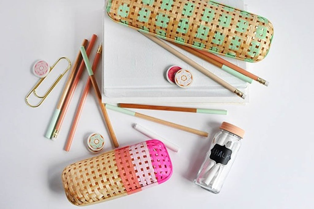 pencil cases made using cane webbing on flat lay