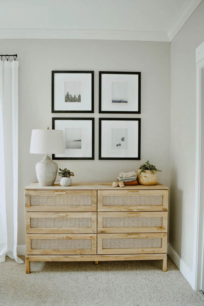 Six drawer dresser with cane webbing drawer fronts