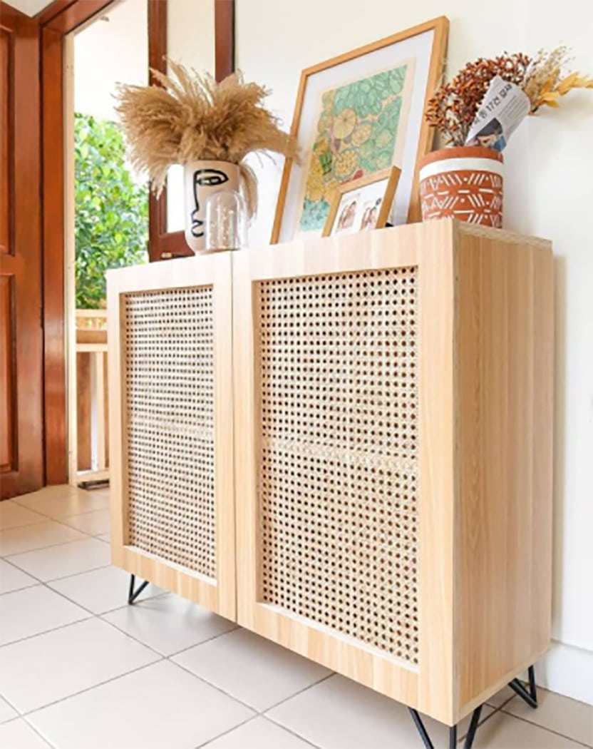 plywood malamine cabinet with rattan webbing door fronts