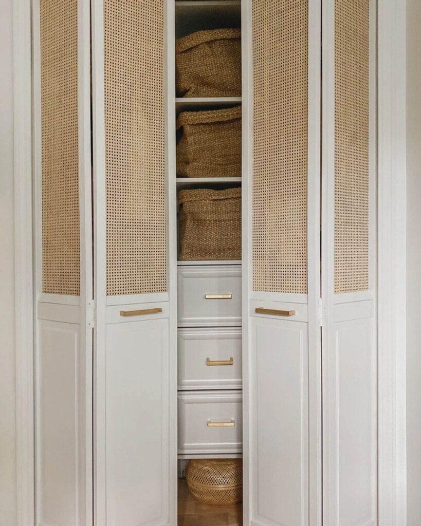 bifold closet doors with cane webbing panels