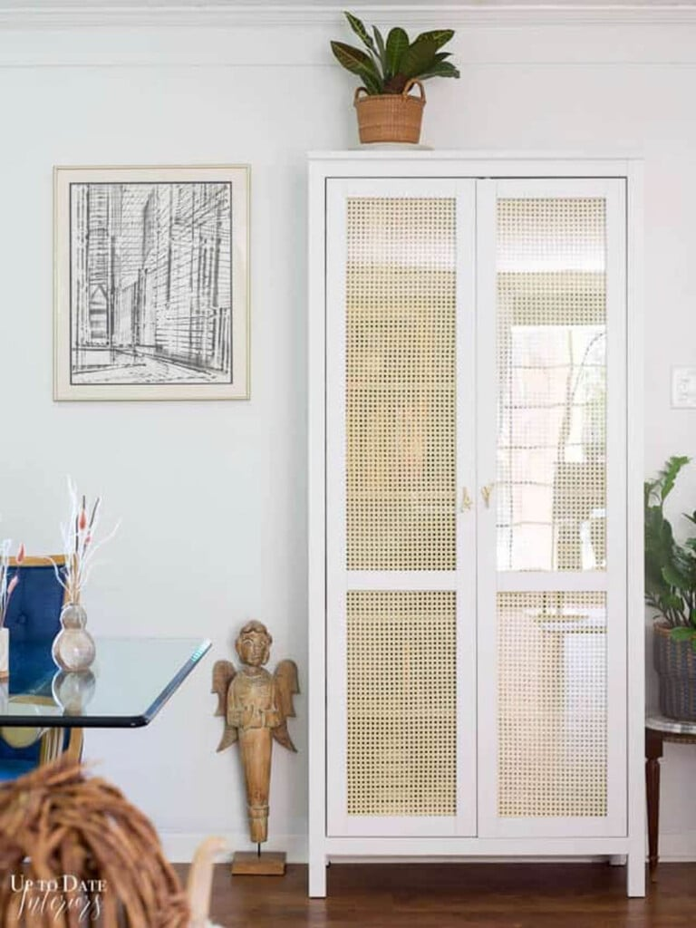 ikea cabinet makeover using cane webbing on the doors