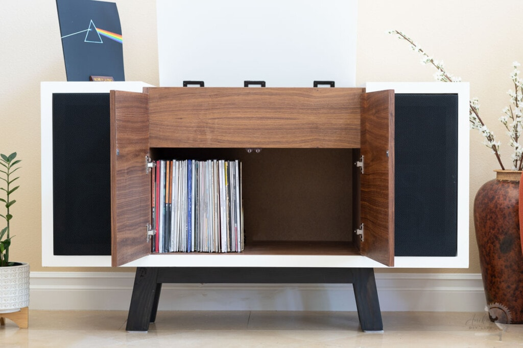 DIY record Player cabinet with storage with all doors open in living room