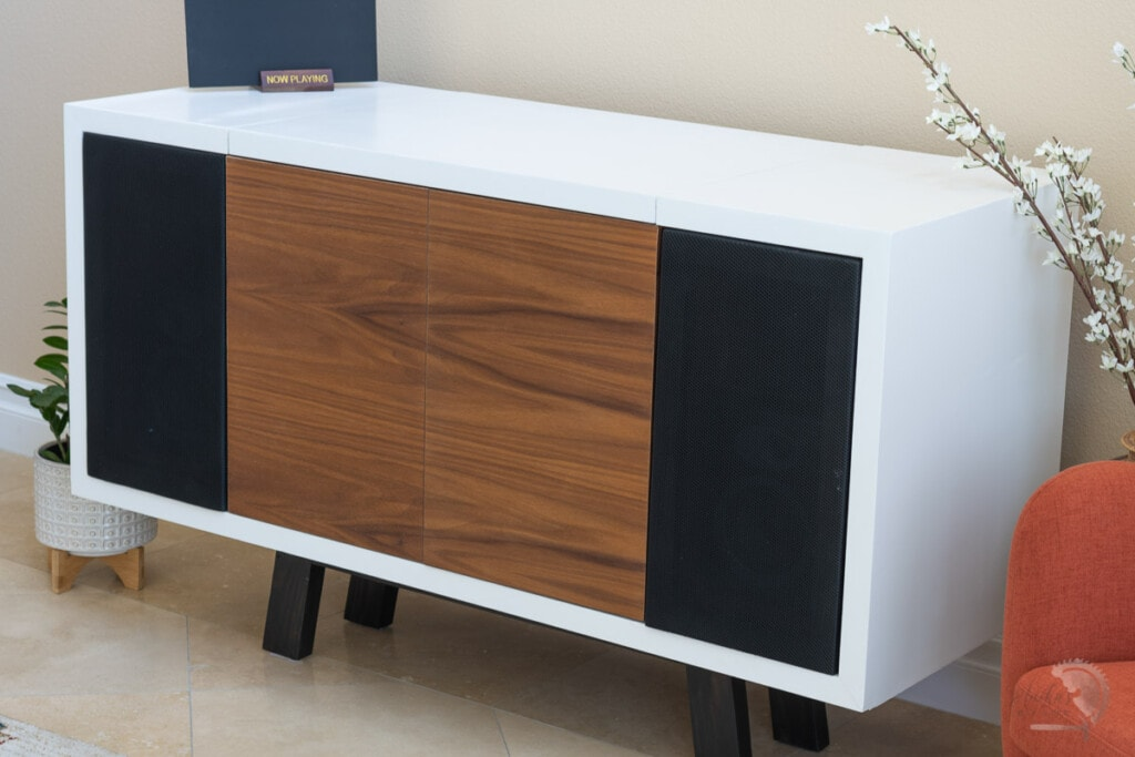 Record Player Stand with all it's doors closed in living room
