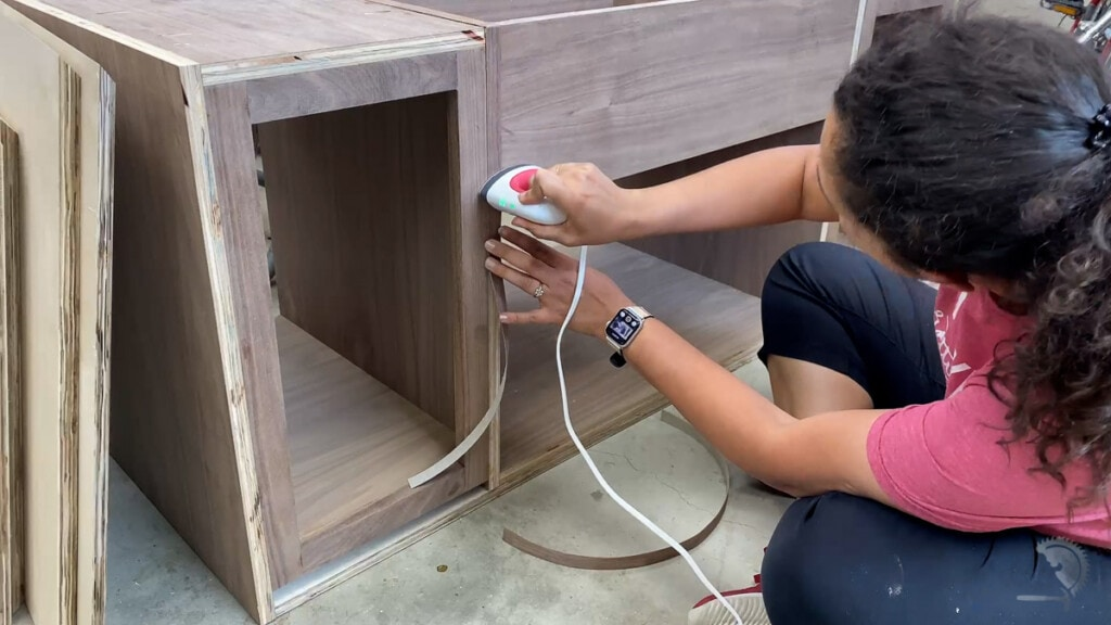 Applying edge-banding to the console table
