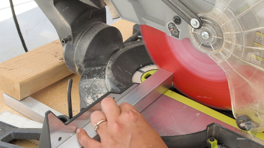 Cutting aluminum tube on a miter saw