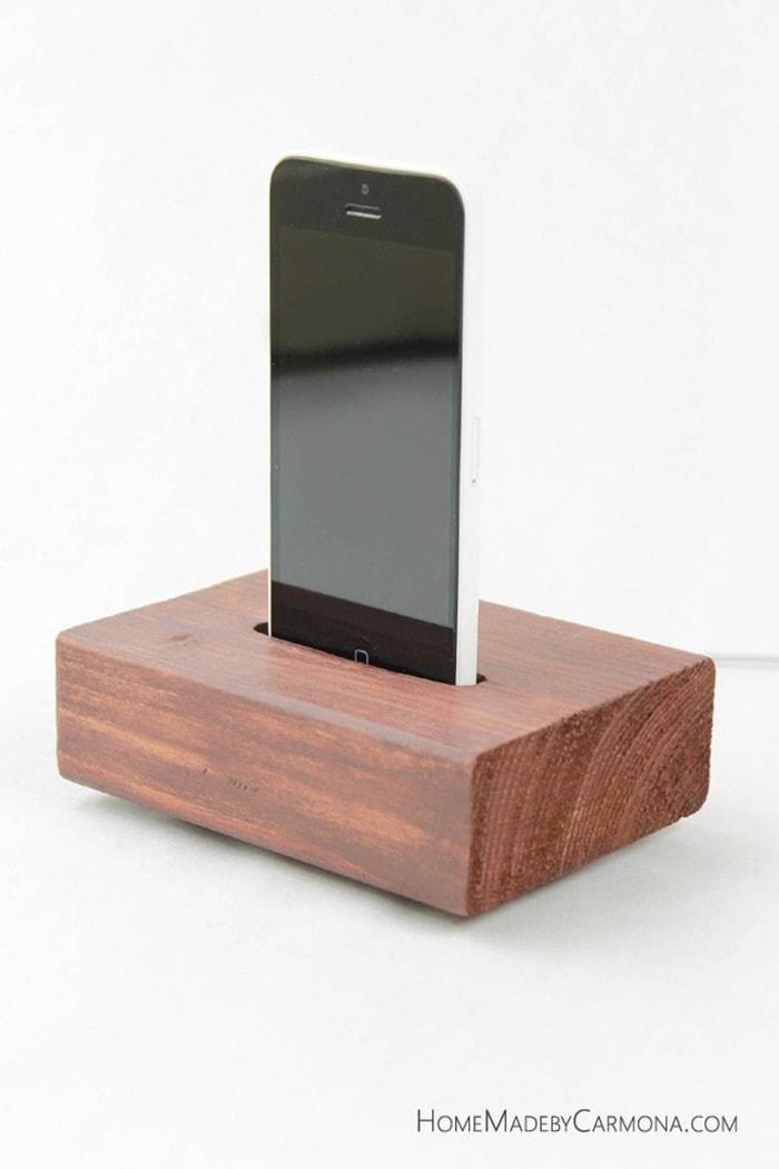 phone charging station made from scrap 2x4s