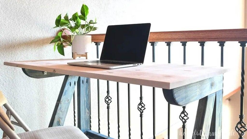 closeup of desk made from scrap 2x4 boards