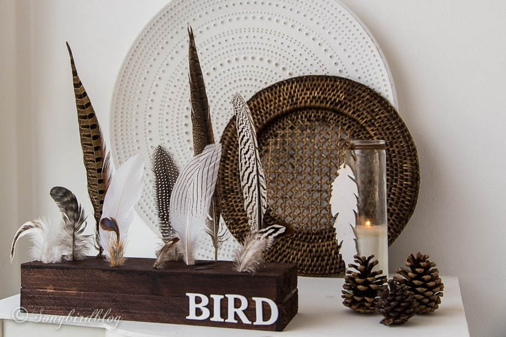 decor display of feathers using 2x4 scrap wood