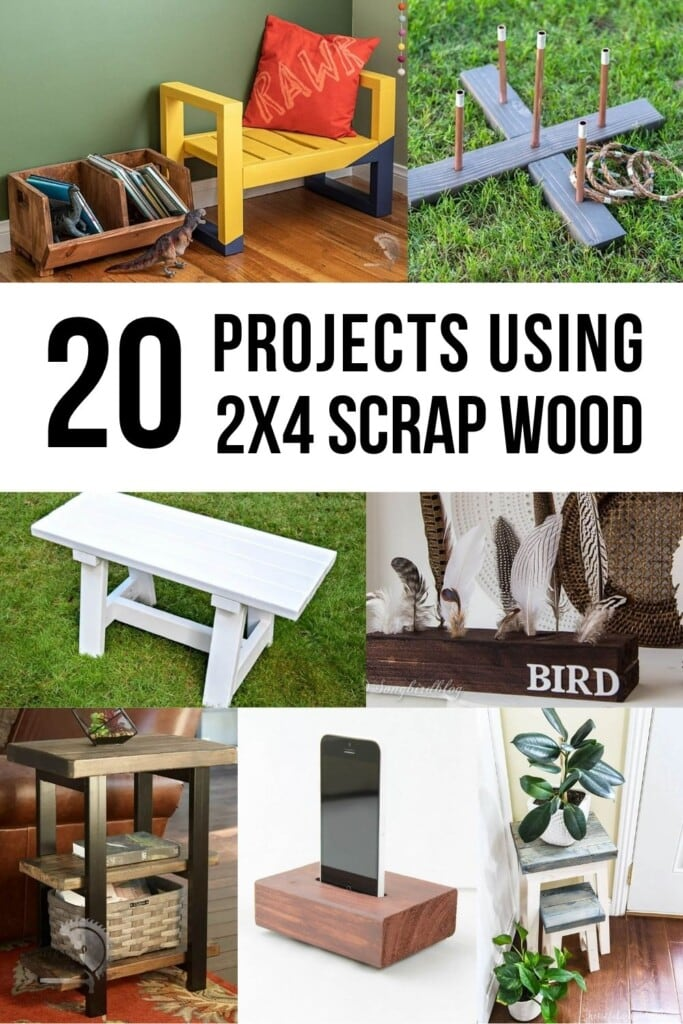 Collage of scrap 2x4 projects with text overlay