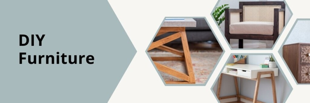 collage of DIY furniture projects
