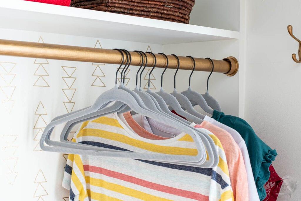 close up of closet rod in DIY custom closet