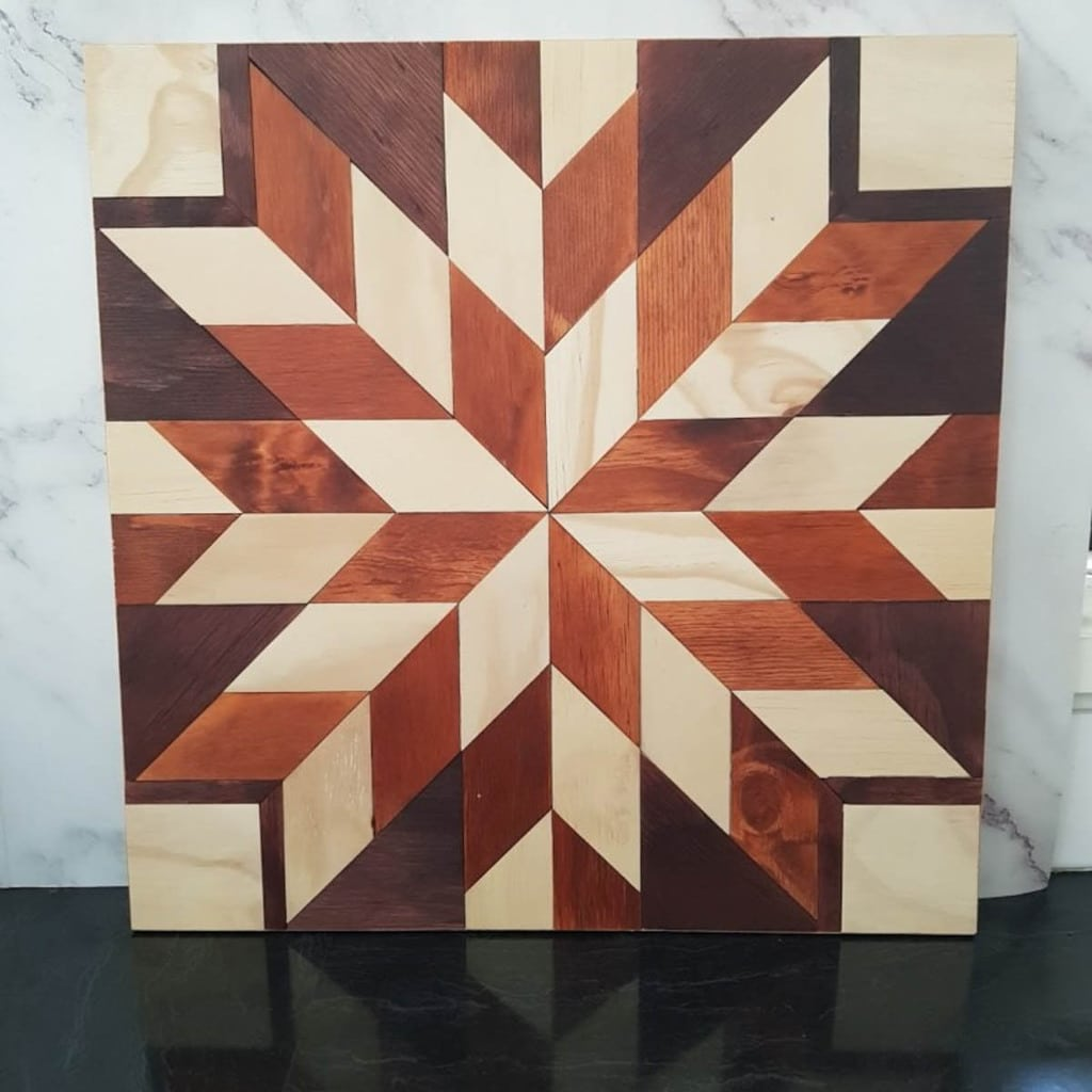wood barn quilt made from scrap plywood