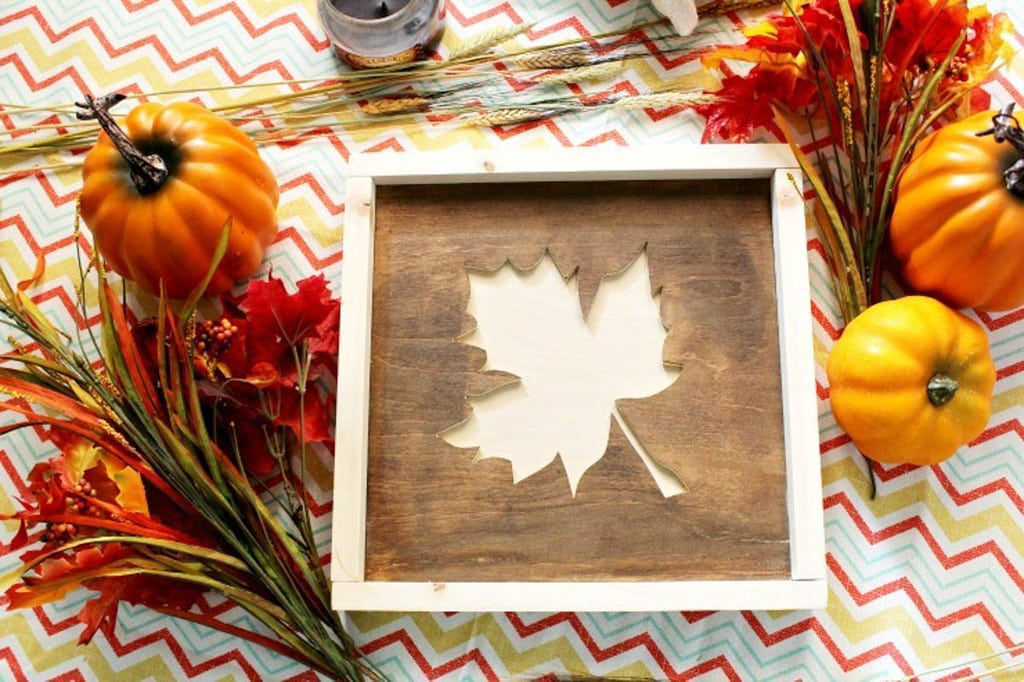 fall leaf sign made from scrap plywood and framed