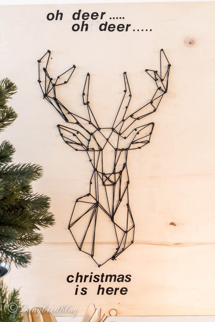 deer made using string art on scrap plywood