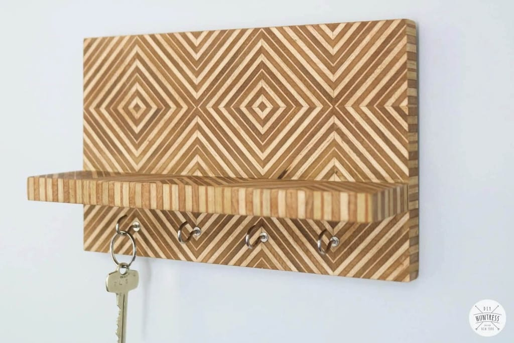 key holder with shelf made from scrap plywood with a chevron pattern