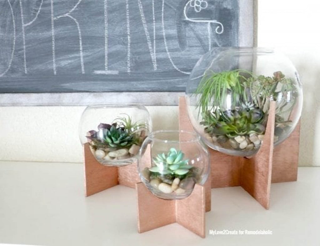 globe terrariums on scrap plywood stands
