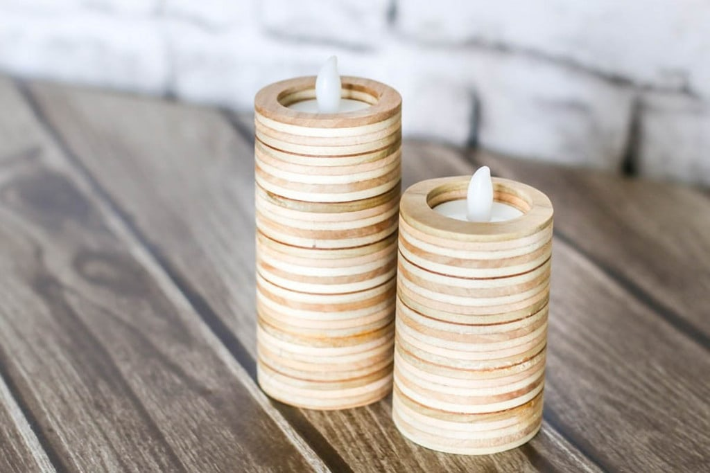 cylinder shaped candle holder made from scrap plywood