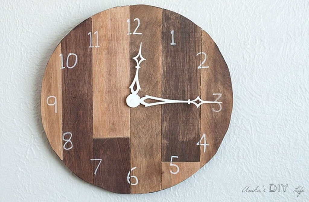 Wood clock made from scrap plywood