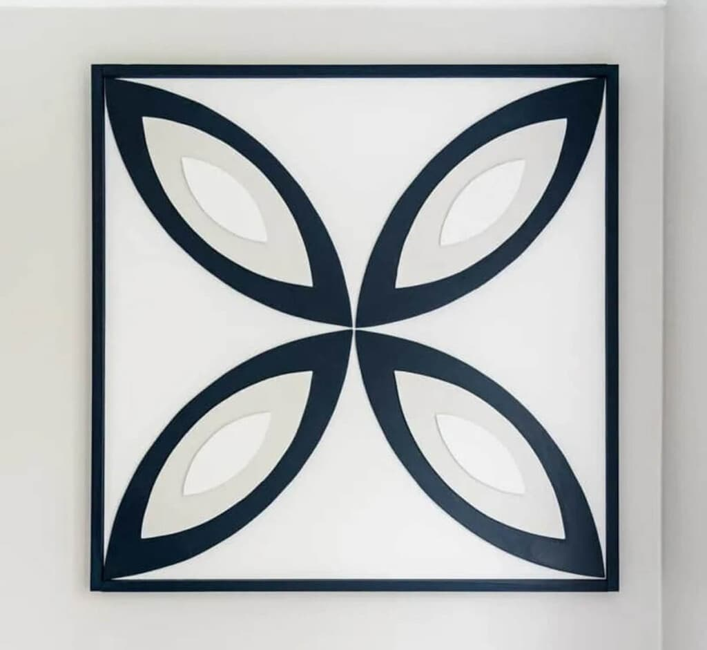 framed flower shaped wall decor made from scrap plywood