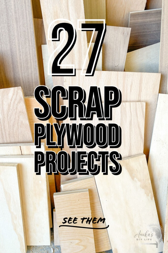 collage of small scrap plywood project ideas with text overlay