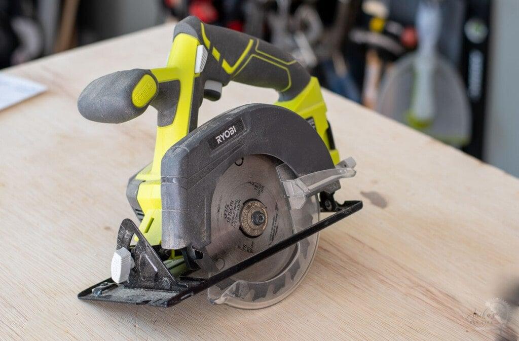 circular saw on workbench